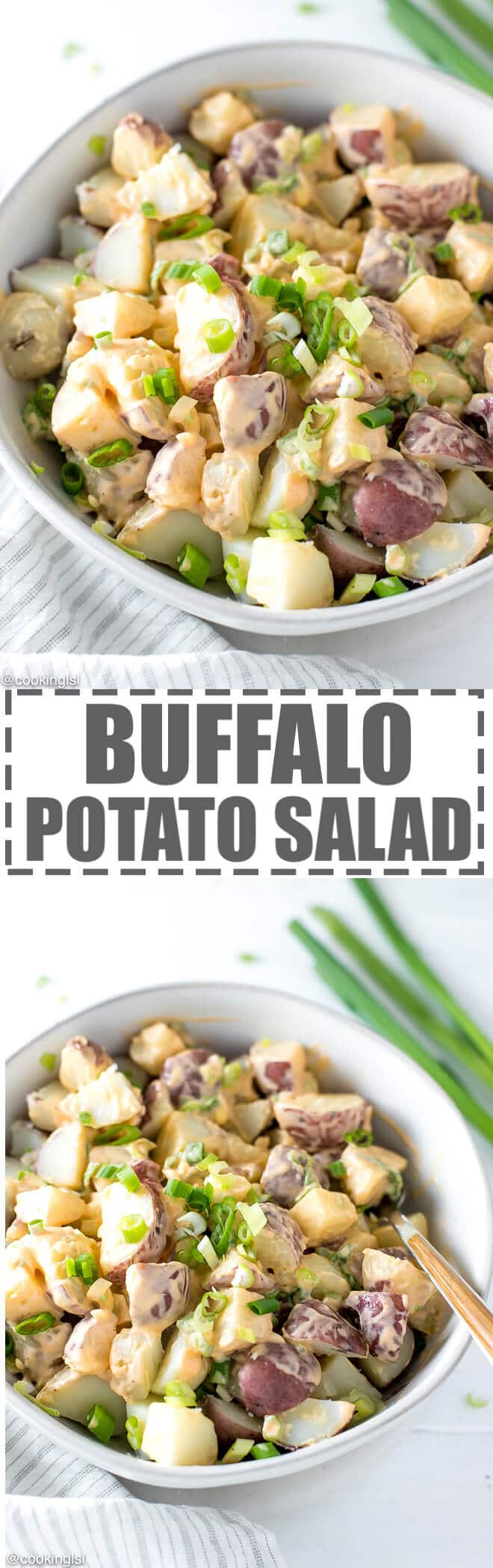 Buffalo Potato Salad Recipe - boiled small red potatoes with a creamy buffalo dressing, made with hot buffalo sauce, mayo and yogurt. Topped with chopped scallions. Great for a party, game day or celebration. Low calorie and full of flavor.