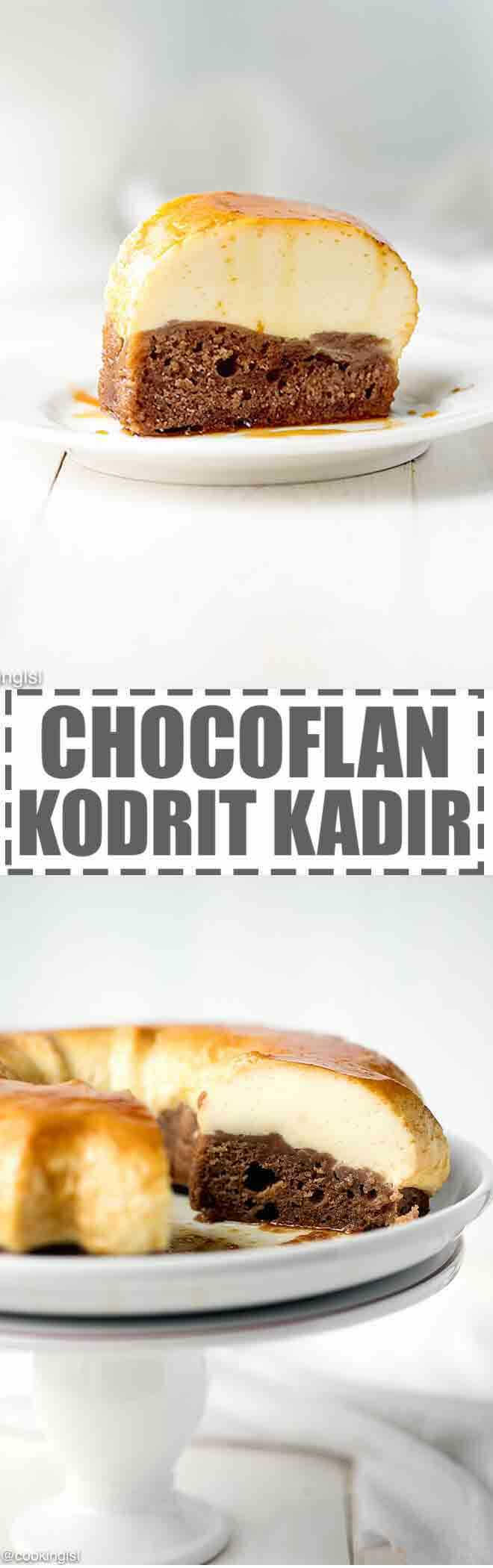 Easy Chocoflan Recipe - Kodrit Kadir -a simple and impressive dessert, that features a layer of chocolate cake on the bottom and smooth and creamy flan layer on top. The chocolate layer soaks up the caramel from the plan, which makes this Chocoflan (Kodrit Kadir) extra moist.