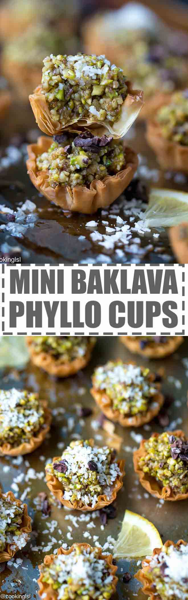 Mini Phyllo Baklava Cups Recipe - flakey, sweet and delicious, these mini bites are great for a party or celebration. A mini version of a popular Middle Eastern dessert. Made with store bought miniphyllopastry shells. Party dessert, bite sized dessert. #baklava #phyllo #filo #turkish #pastry #minibaklava #baklavacups