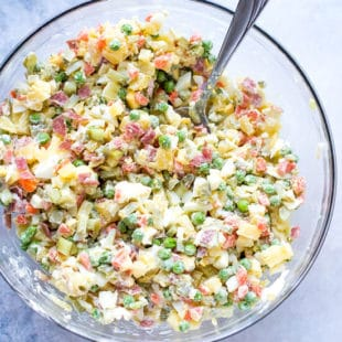 Olivier Russian Salad Recipe, colorful, chunky and delicious.