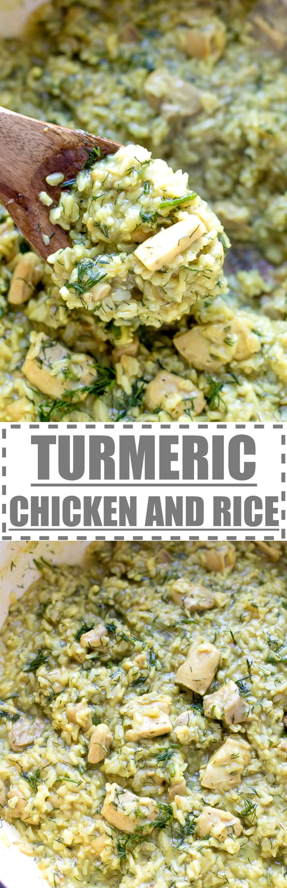 Turmeric Chicken Thighs And Rice Recipe - simple to make, flavorful and nutritious one pot meal. Ready in 40 minutes, great for busy families and kids. #turmeric #chickenrecipes #chicken #rice #onepot