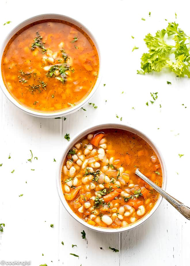 Easy White Bean Soup. Served in a clay bowl, Bulgarian beans.