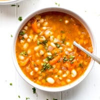 Easy White Bean Soup in a bowl. Bulgarian bob chorba.