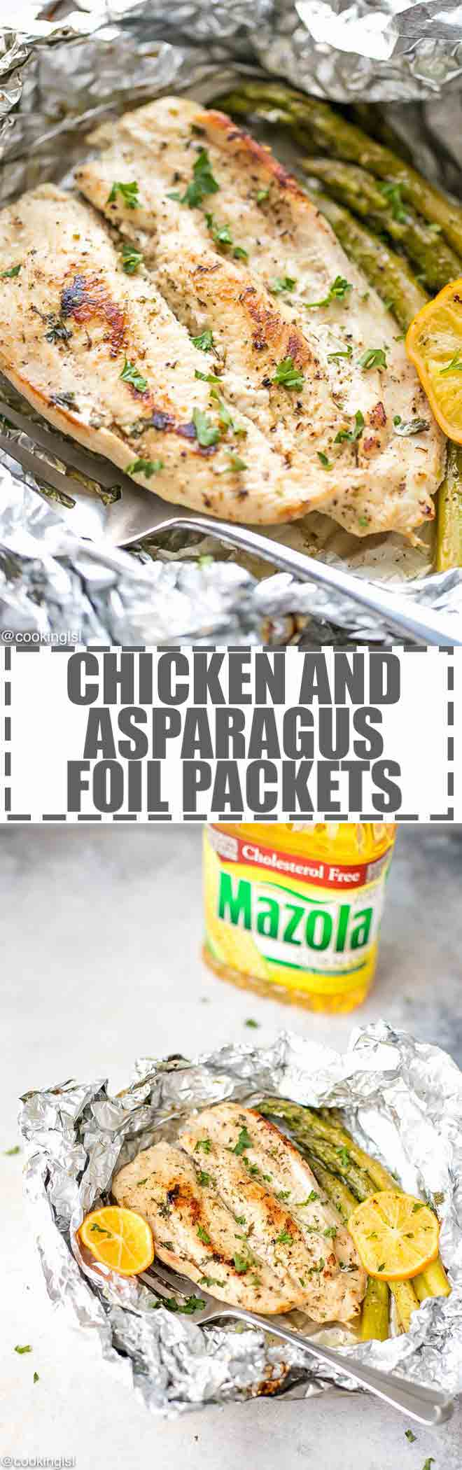 Easy Chicken And Asparagus Foil Packets Recipe - quick and easy to prepare, light and delicious, nutritious meal. Minimal prep work, perfect for busy families. #ad #chickeninfoil #foilpackets #asparagus #chickenrecipes