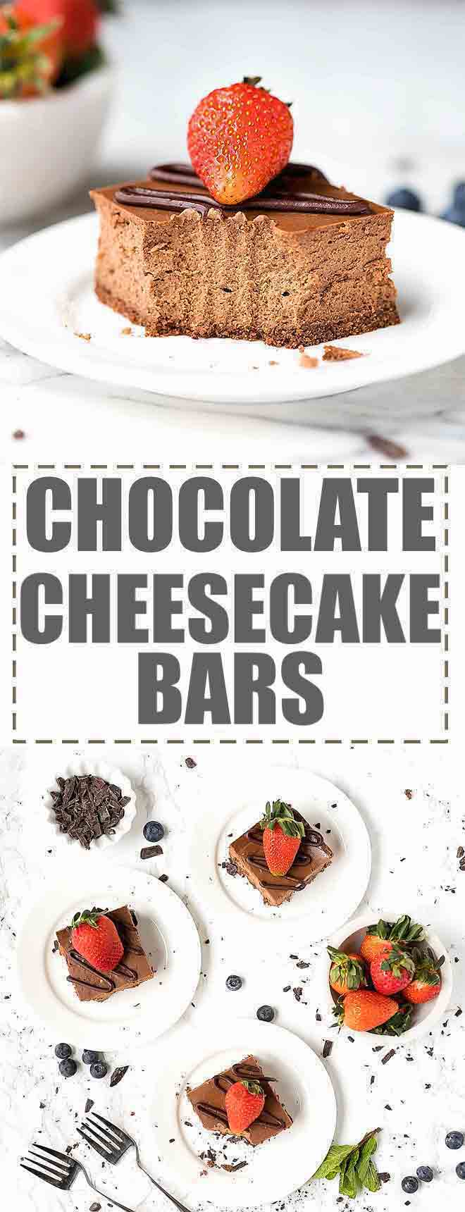 Chocolate Cheesecake Bars Recipe - rich, creamy and chocolatey chocolate cheesecake, baked in a square dish and cut into the most delicious chocolate cheesecake squares. #chocolatecheesecake #cheesecake #cheesecakebars #easycheesecake #cheesecakesquares #chocolatedesserts #chocolate #chocolaterecipes