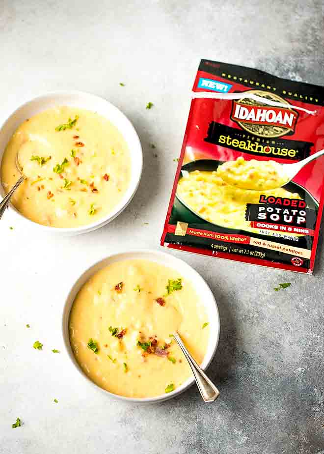 5 Minute Loaded Potato Soup - very quick and easy to make, loaded with flavor. Great for a night in with your SOUP-er significant other. #ad #IdahoanSoups