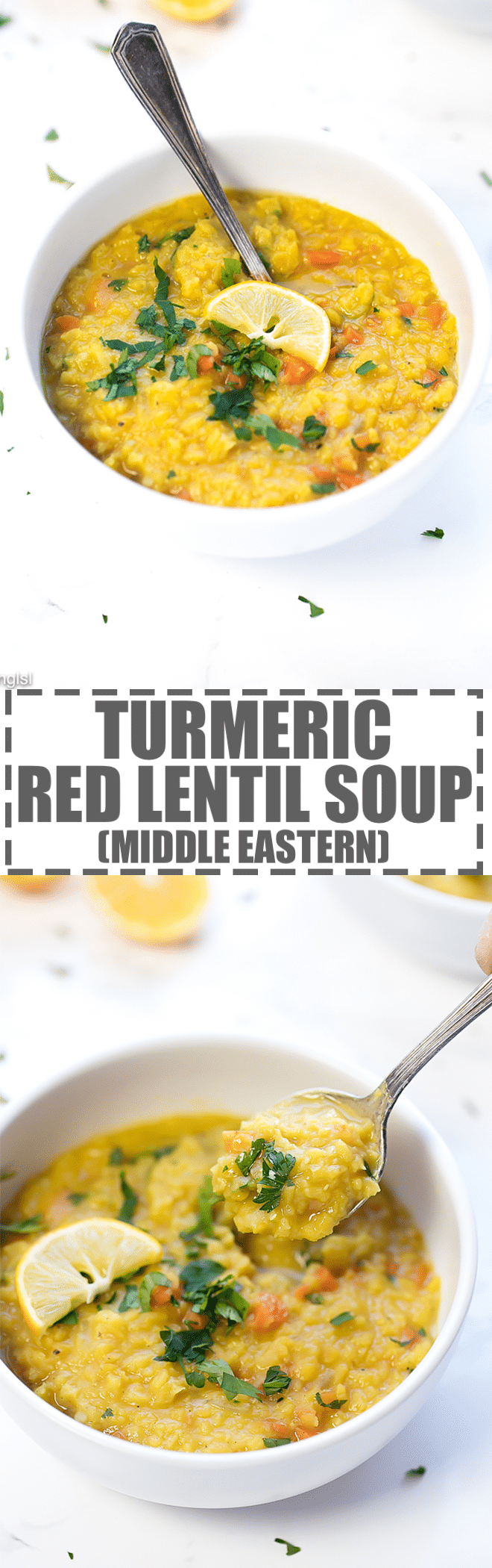 Middle Eastern Lentil Soup Recipe - just a few basic ingredients to make this delicious, flavorful and nutritious soup. Great as a side soup or a light meal. Packed with Middle Eastern flavors, due to the combination of two very distinct spices - turmeric and cumin.