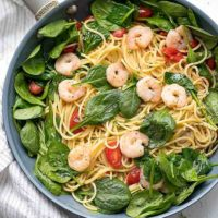Shrimp Pasta Lite - healthy pasta with wine sauce, spinach and tomatoes