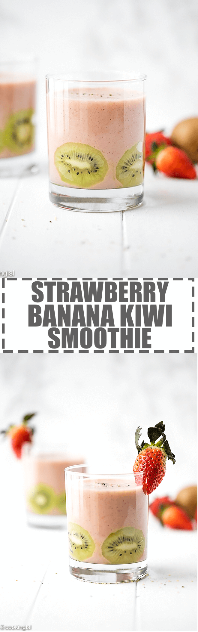 Strawberry, Banana and Kiwi Smoothie - light, creamy, flavorful and nutritious, great for a fresh, healthy snack. Ready in 2 minutes, packed with vitamins.
