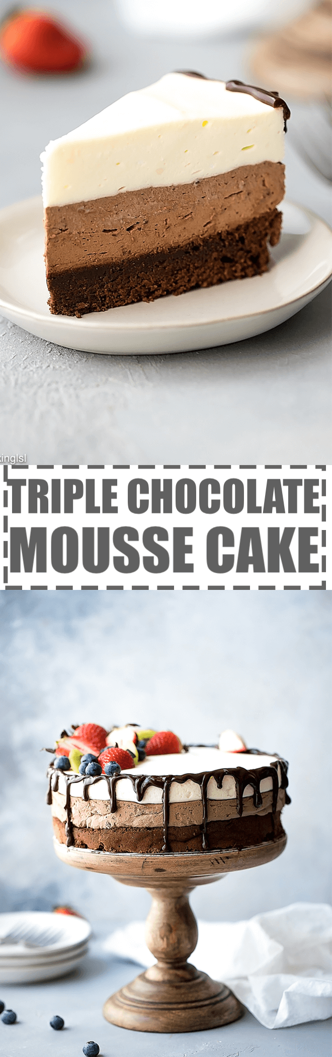 This triple chocolate mousse cake is rich, smooth, creamy and full of flavor. It features layer of chocolate souffle cake, rich chocolate mousse and white chocolate mousse on top. Garnished with chocolate ganache and berries. Great for any occasion and celebration. Perfect for chocolate lovers!