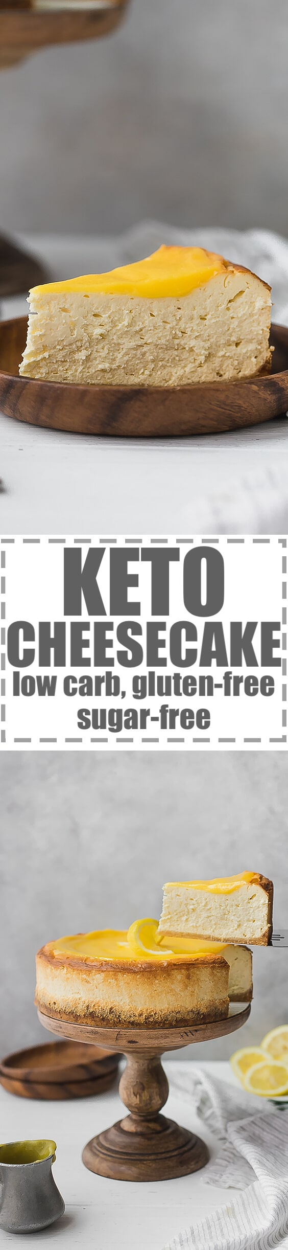 Keto Cheesecake Recipe, Low Carb, Sugar-Free, Gluten-Free - very easy to make, smooth, creamy and delicious. Perfect for an every day dessert, but also great for party and celebration. You have the option to make this cheesecake plain or lemon flavored. #ketorecipes #ketocheesecake #lowcarb #lowcarbrecipes #lowcardcheesecake