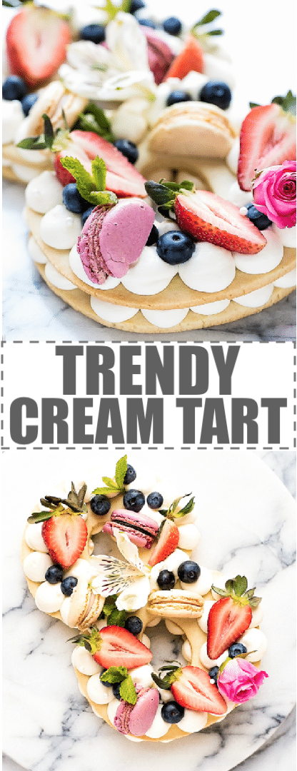 Cream Tart Recipe - New Cake Trend layers of shortbread cookie dough with cream cheese whipped cream. Topped with berries, macarons and flowers. Beautiful, elegant dessert,easy to make and inexpensive. Great for parties, birthdays, baby and bridal showers. These cream tarts are also called cream cakes, cake tarts, tart cakes,  cream biscuits, open cookie and cream cakes. #creamtart #creampastry #adiklinghofer #trendycreamtart #trendycake