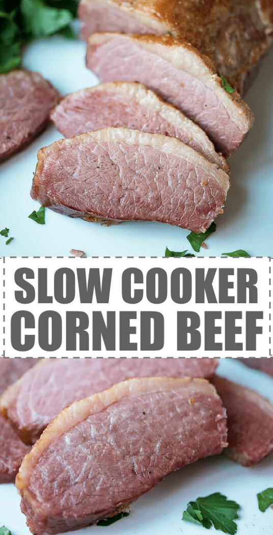 Slow Cooker Corned Beef Recipe - easy to make, with just 5 minutes of prep work, crispy on the top and juicy on the inside corned beef brisket. This slow cooker dish tastes great when served with cabbage, potatoes, vegetables, but you can also use the leftovers on sandwiches, in soups, pizza, casseroles and dips. #slowcookerrecipes #stpatricksday #stpattysday #cornedbeef #brisket #irish