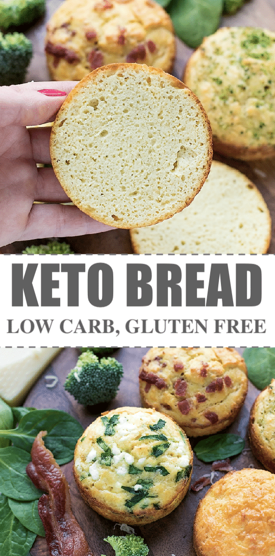 Keto Bread Recipe -quick and simple way to make low carb, gluten free, individual keto bread rolls, in ramekins and just a few healthy ingredients. You can either bake it in the microwave for 90 seconds or in the oven for 10-15 minutes. The the-easiest, the-best kept bread recipe I've ever tried.  #ketorecipes #ketobread #ketodiet #lowcarb #lowcarbrecipes
