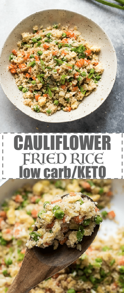 Keto Cauliflower Fried Rice Recipe, Low Calorie, Low Carb - swap the regular starchy white rice in this Asian favorite take out with homemade cauliflower rice. This Keto cauliflower rice is great for a healthy  side dish or a light and nutritious meal. #cauliflowerrice #cauliflowerfriedrice #ketorecipes