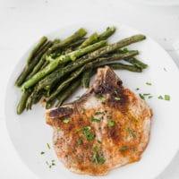 bone-in pork chops on a plate