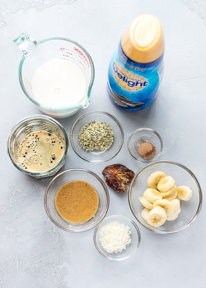 Ingredients to make coffee smoothie