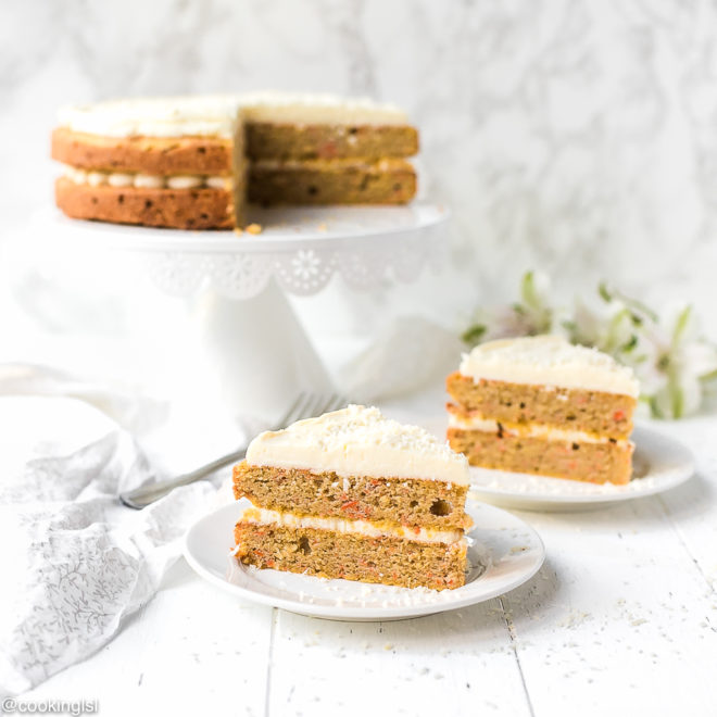 Low Carb Keto Carrot Cake slices in two white plates