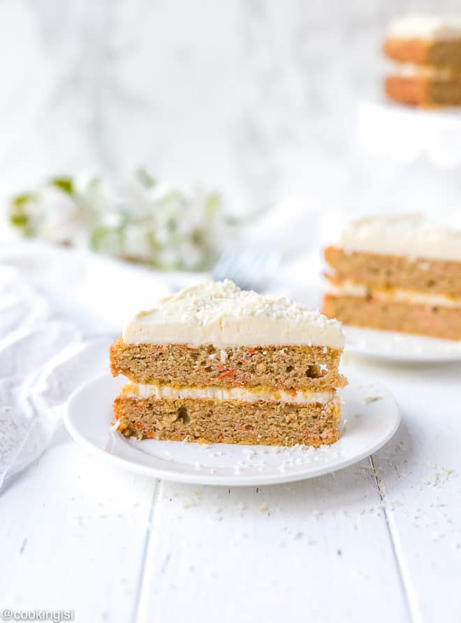 Easy keto carrot cake slice on a white plate