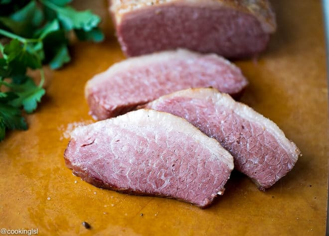 Slow Cooker Corned Beef Recipe for st patrick's day in a crock pot.
