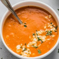 Easy Tomato Feta Soup Recipe in a white bowl