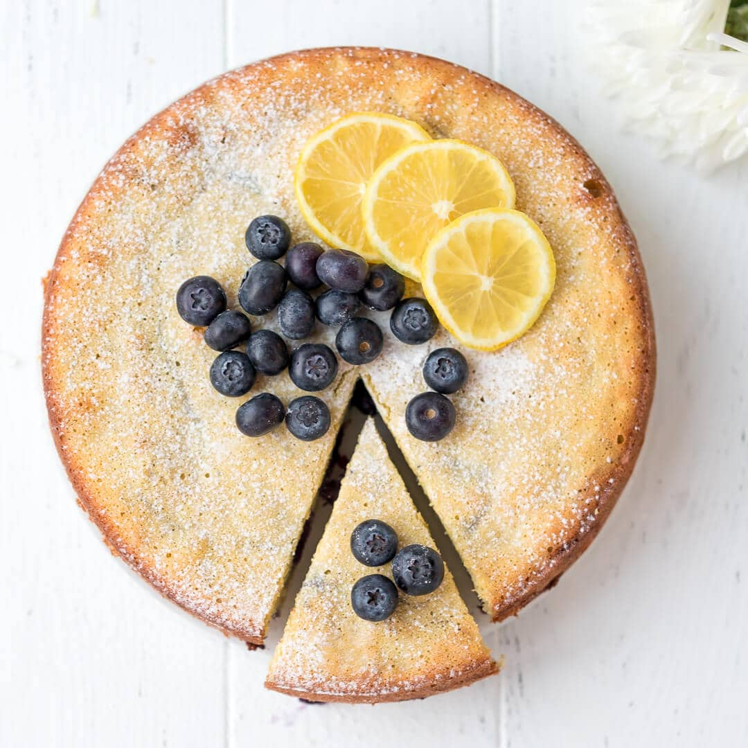 Keto Lemon Cake With Blueberries Low Carb Gluten Free