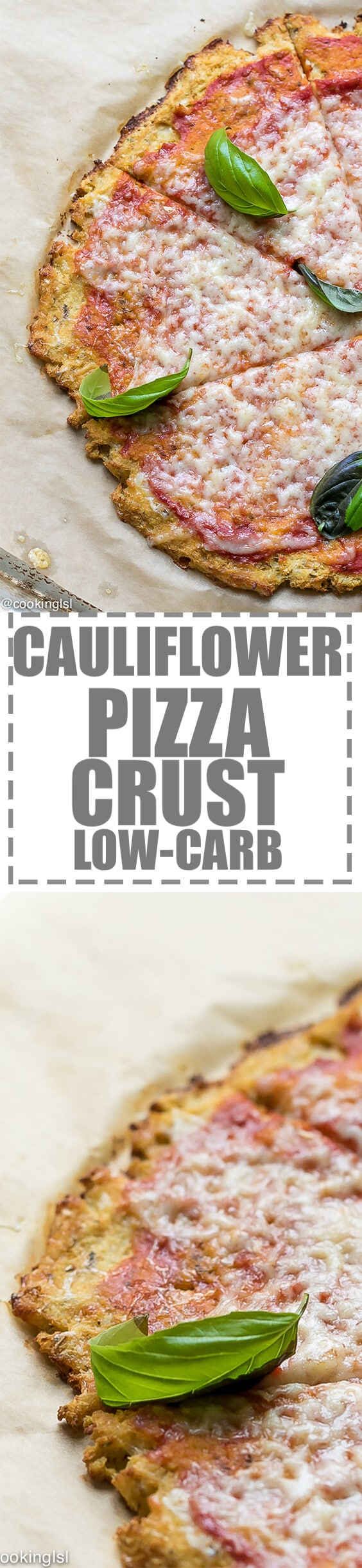 Easy Cauliflower Pizza Recipe - the best thin crust cauliflower cheese pizza, that is easy to make with just 5 simple ingredients. Low-carb and keto option included in the notes. A great way for kids and adults to enjoy more veggies.  #pizza #cauliflowerpizza #cauliflowerpizzacrust