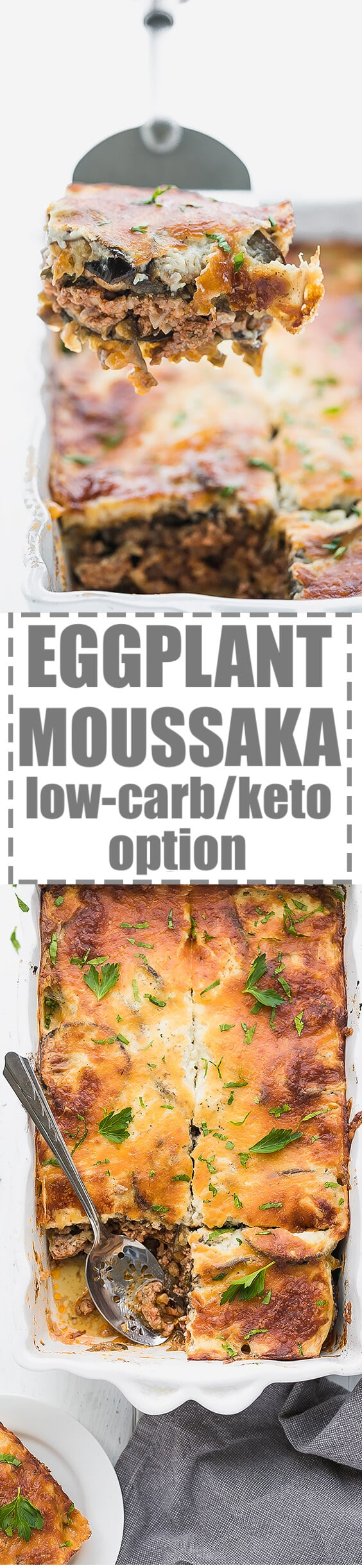 Low-Carb Keto Eggplant Moussaka Recipe - layers of eggplant with meaty sauce in between. Topped with cheesy topping. Flavorful and delicious, easy to make, Greek cuisine inspired low-carb meal.#ketorecipes #lowcarbrecipes #eggplant #eggplantmoussaka #Greekmoussaka