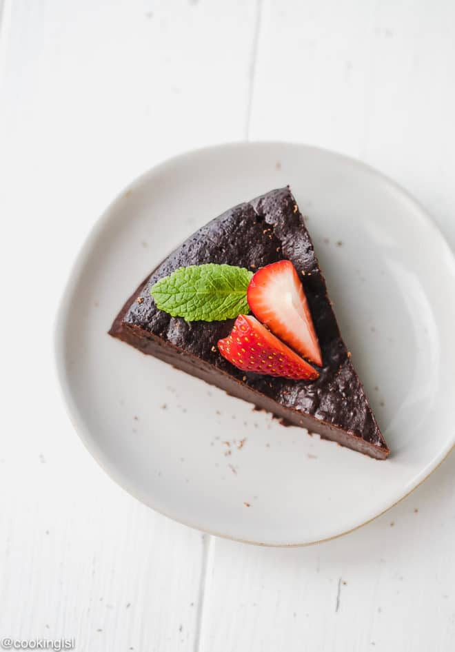 Keto Flourless Chocolate Torte topped with mint on a small plate