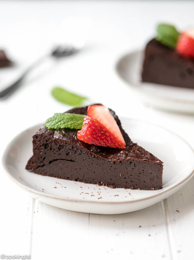 Keto Flourless Chocolate Torte on a plate