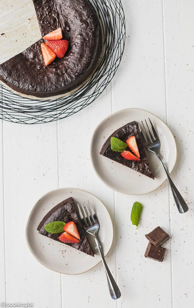 Keto Flourless Chocolate Torte sliced and on plates
