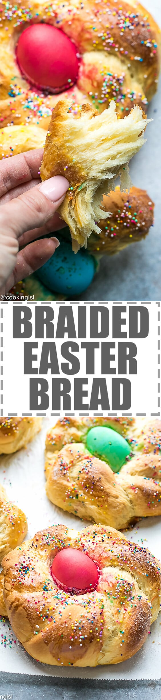 Mini Braided Easter Bread Recipe - sweet easter breads with a colored egg in the middle. Cute, festive and easy to make. Soft, stringy bread that pulls away, flavored with vanilla, lemon and orange zest and topped with sugar for a sweet, crunchy finish. #Easter #Easterbread #easterrecipe