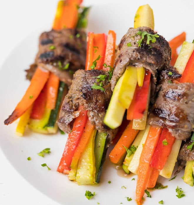 Steak roll ups with colorful vegetables