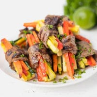 Easy Steak Roll Ups Recipe With Veggies Low-Carb, Keto on a plate