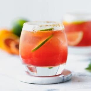 a small glass with Blood Orange Margarita Recipe (Sugar Free)
