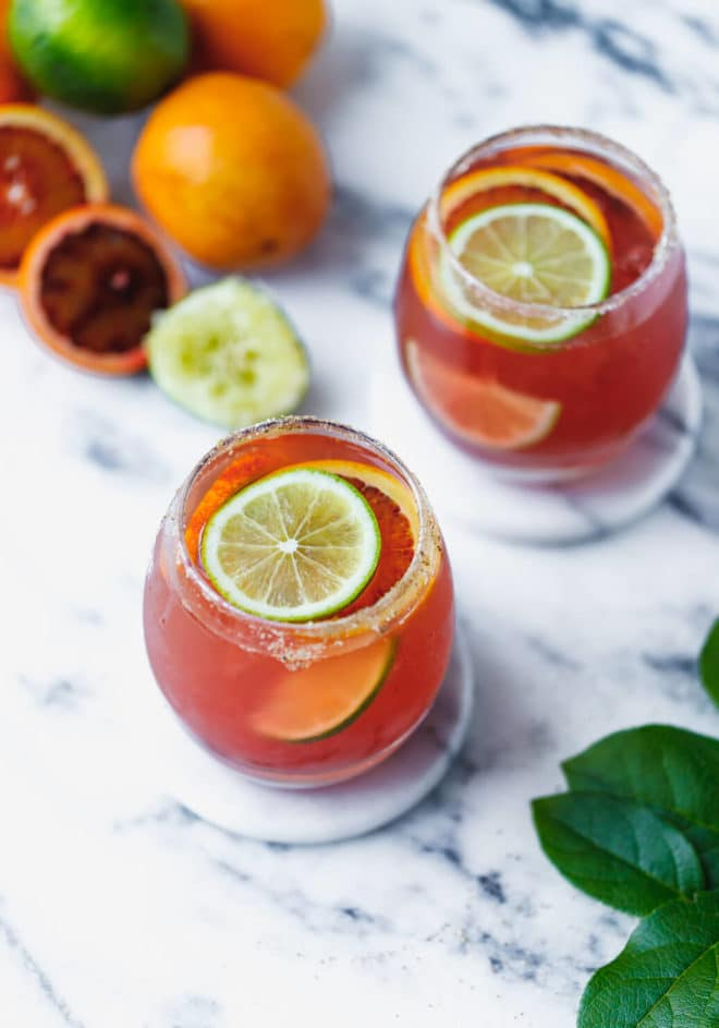 glasses with Blood Orange Margarita Recipe (Sugar Free)