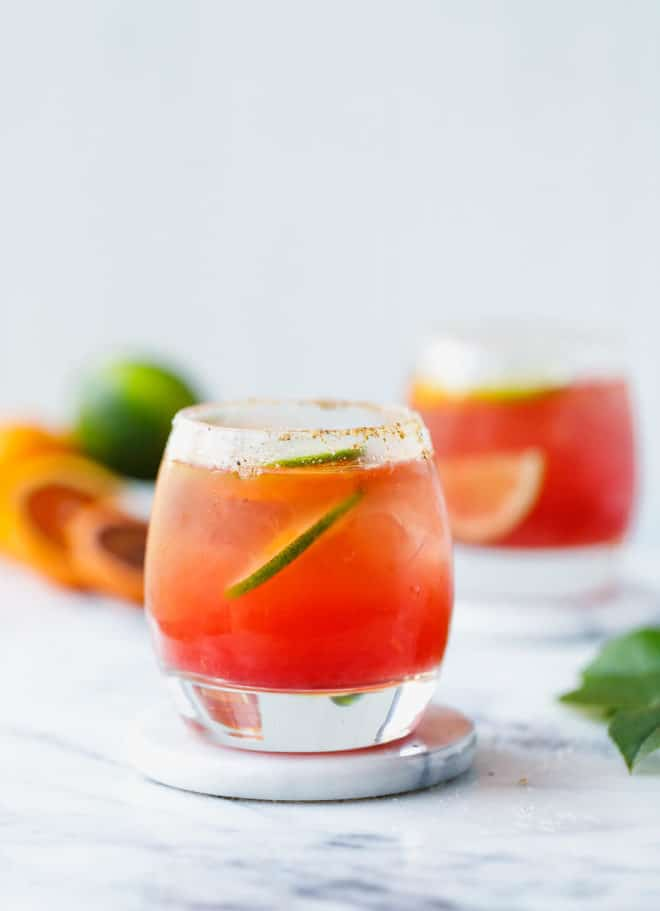 A glass with Blood Orange Margarita Recipe (Sugar Free)