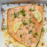Lemon Baked Salmon Recipe in a baking dish