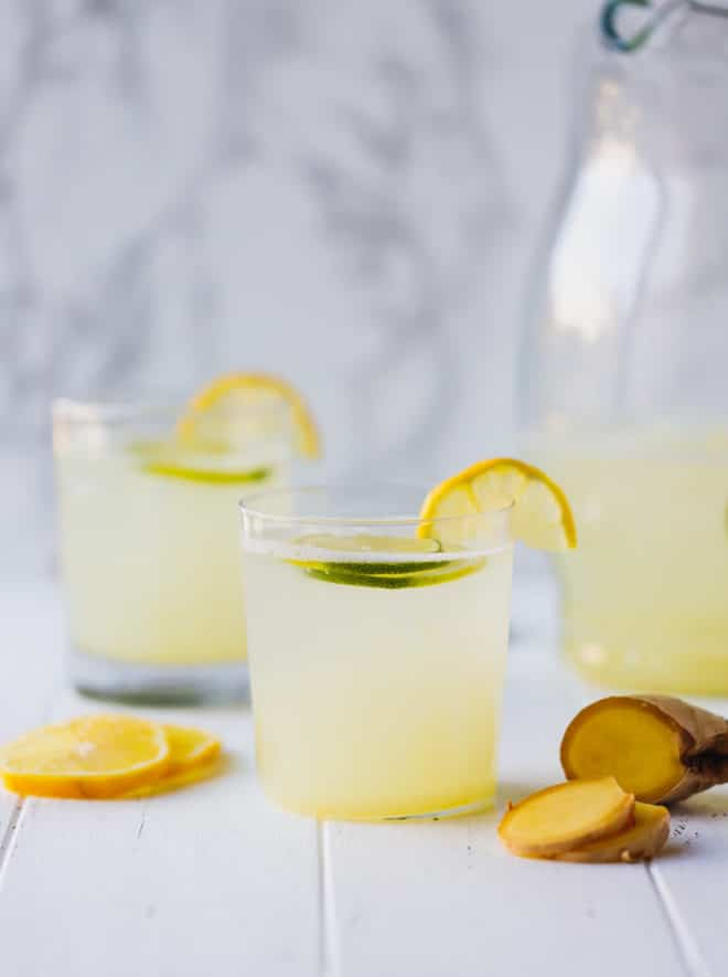 Sugar-Free Ginger Lemonade in glasses with ginger slices