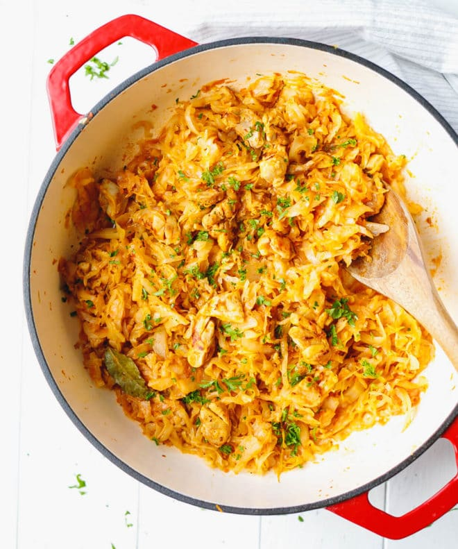Low-Carb Cabbage With Chicken Recipe in a Dutch Oven