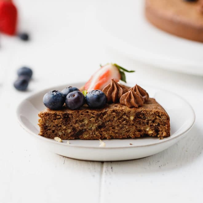 Low-Carb Chocolate Hazelnut Cake on a plate