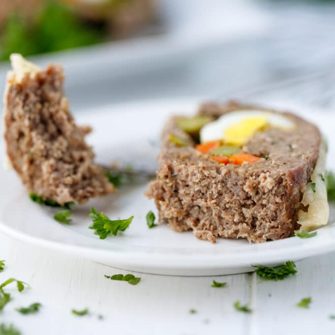 Low-Carb, Keto Stuffed Meatloaf Roll slice on a plate