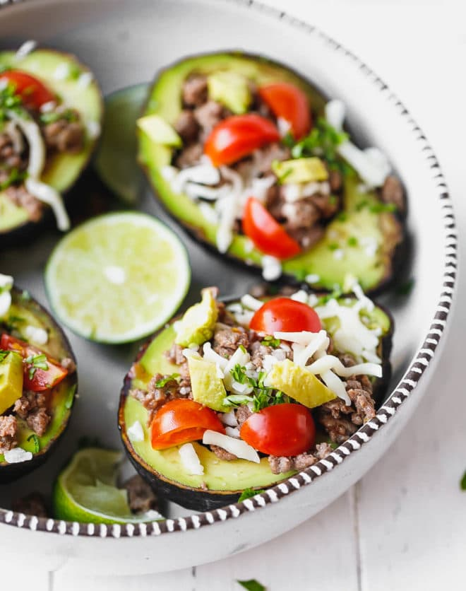 Taco Stuffed Avocado {Keto, Low-Carb}  in a bowl