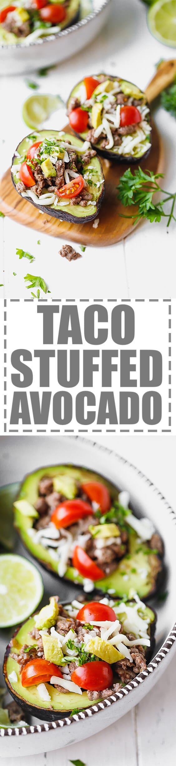 Taco Stuffed Avocado {Keto, Low-Carb}  - very quick and easy to make, great for an appetizer or main dish. Gluten free, made with just a few simple ingredients. #ketorecipes #avocadorecipes #lowcarb #stuffedavocado