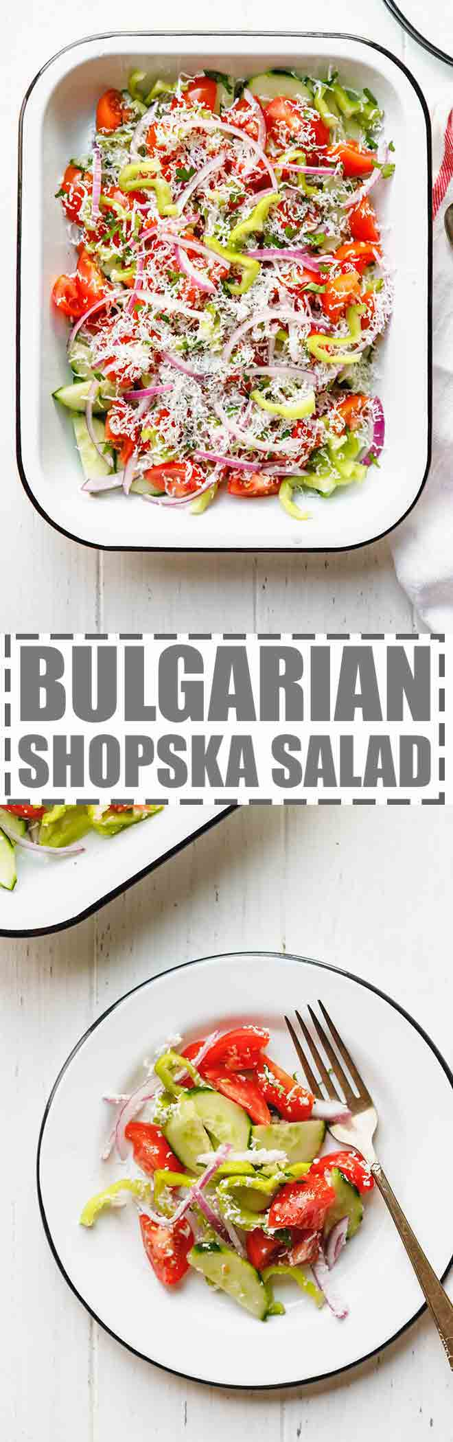Shopska Salad Recipe - Bulgarian Tomato And Cucumber Salad, light summer salad made with tomatoes, cucumbers, peppers, onions, feta cheese and a light olive oil and salt dressing. #salad #bulgarian #shopskasalad