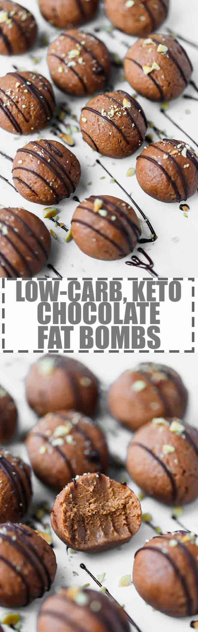 Low-Carb, Keto Chocolate Fat Bombs Recipe - fudgy chocolate balls, made with cream cheese, butter, dark chocolate, sweetener, nut butter and coconut flour. Easy to make, great for a snack or dessert. Keep your sugar cravings satisfied with this delicious keto sweet treat. #keto #lowcarb #fatbombs #chocolatefatbombs