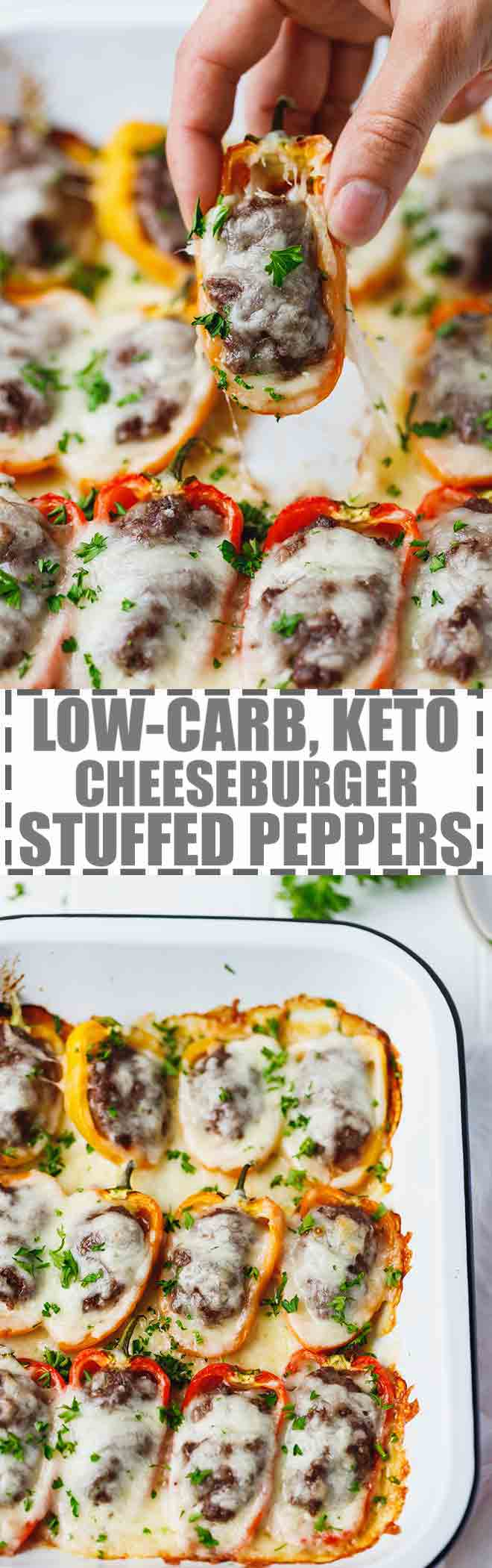 Low-Carb, Keto Cheeseburger Stuffed Peppers Recipe - colorful mini peppers, cut in half lengthwise, stuffed with ground beef and topped with melty cheese. #KETO #LOWCARB #CHEESEBURGER #STUFFEDPEPPERS #GLUTENFREE