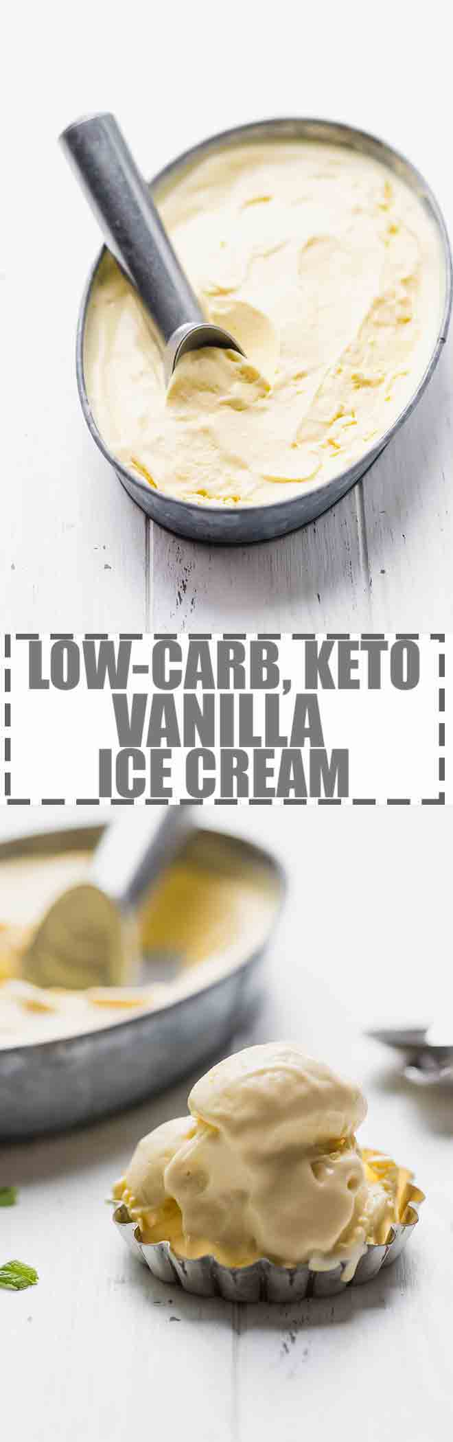 Low-Carb, Keto Ice Cream Recipe - custard based vanilla ice cream, made with a few simple ingredients and churned in an ice cream maker. Perfect for summer. Sugar and gluten-free. #keto #lowcarb #ketogenic #icecream
