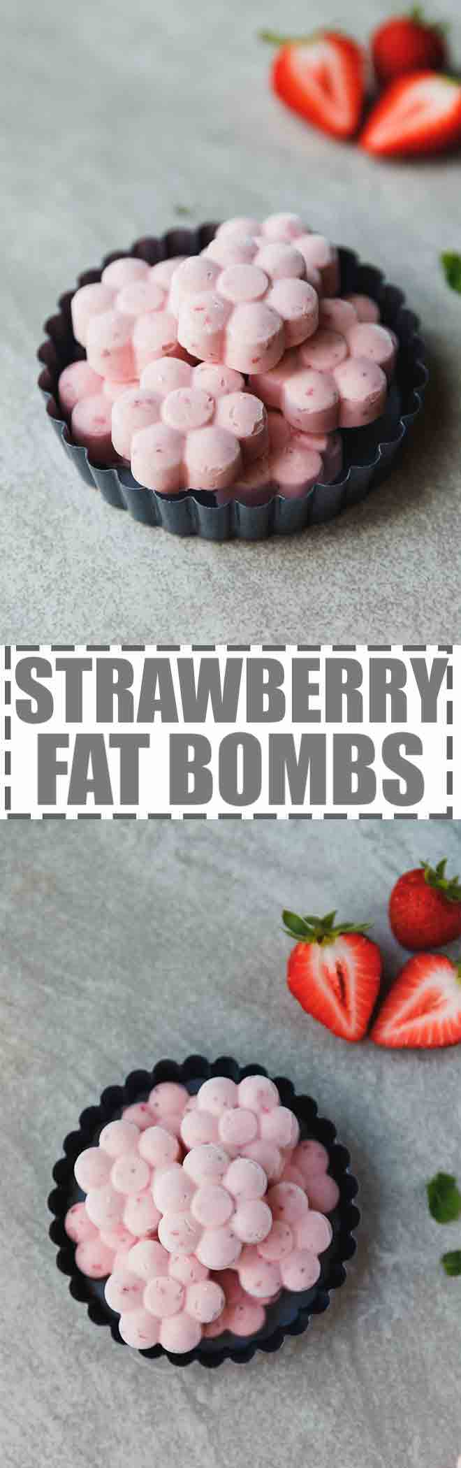 Low-Carb, Keto Strawberry Fat Bombs make the perfect, sweet, high fat snack. Loaded with fresh strawberries, cream cheese, butter and a little bit of Swerve sweetener, these snacks are easy to make and keep well in the fridge for up to one month.