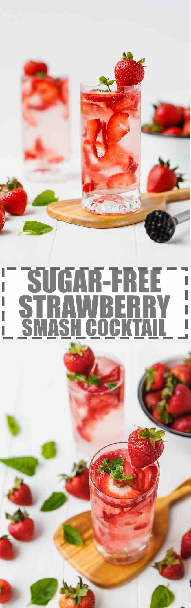 Sugar-Free Strawberry Smash Cocktail - quick and easy to make summer cocktail ready in two minutes with six basic ingredients. Fresh and delicious!